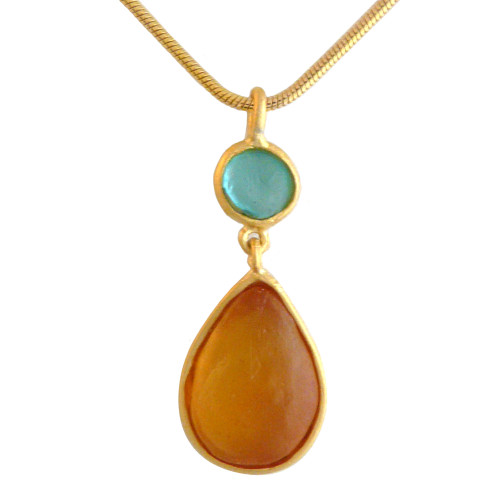 Artisan Glass & Gold Plate Teardrop Necklace: Orange and Teal