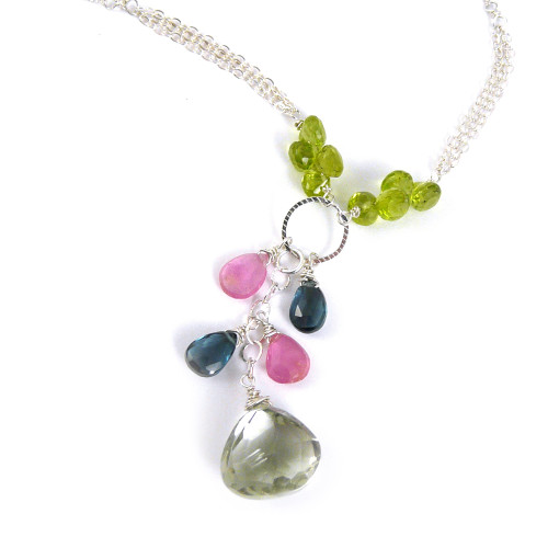 Multi-Color Gemstone Cascade Necklace