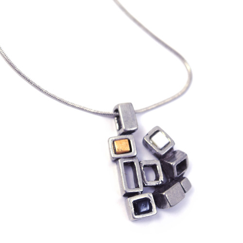 Modernist Pewter Cubist  Pendant - Neutral Colors Version