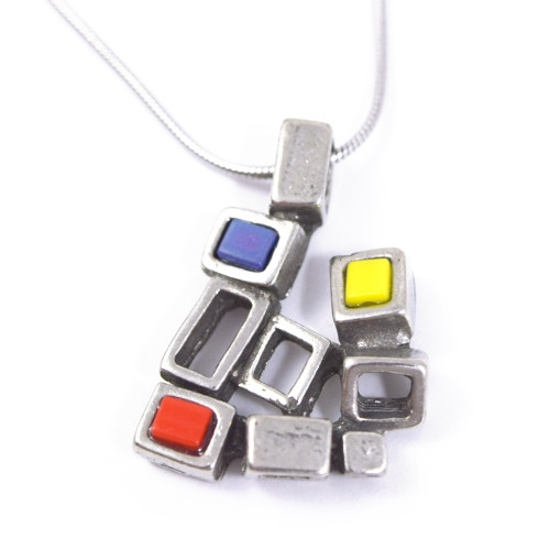 Modernist Pewter Cubist Pendant - Primary Colors Version