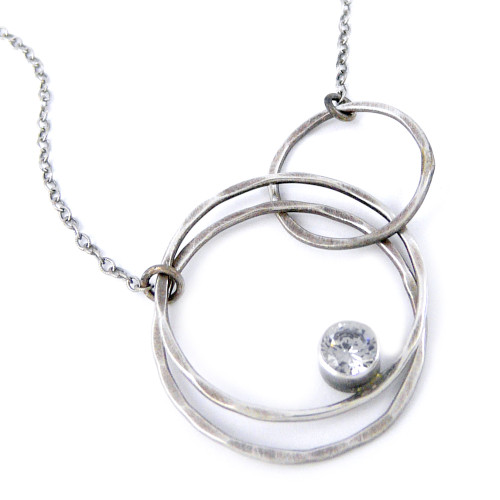 Hammered Eternity Circles Necklace