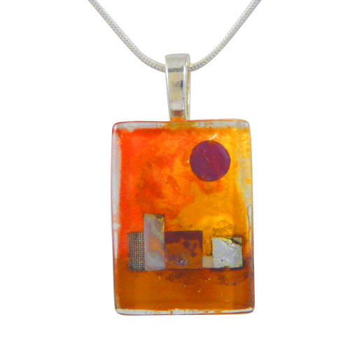 Glass Canvas Pendant: Desert Sun