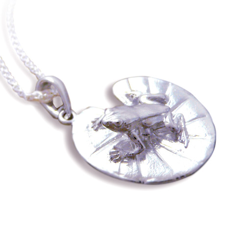 Frog and Lily Pad Sterling Silver Necklace