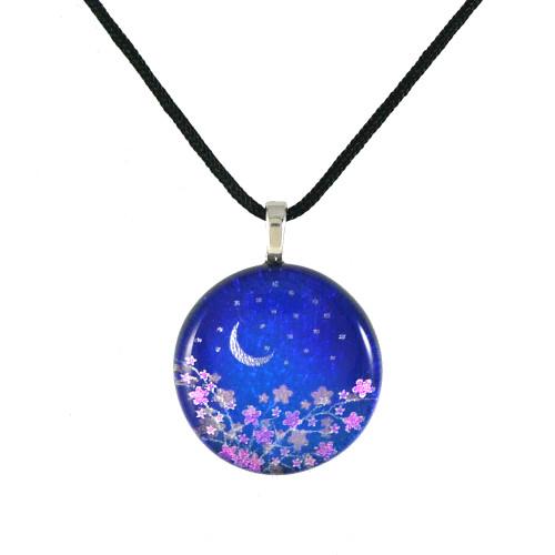Dichroic Glass Pendant - Moonlight Flowers
