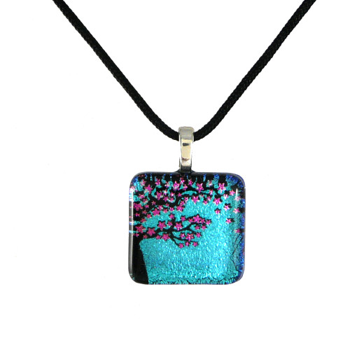 Dichroic Glass Pendant - Cherry Blossoms
