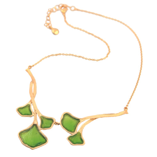Artisan Glass & Gold Plate Green Ginkgo Necklace