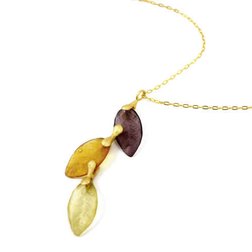 Artisan Glass & Gold Plate Autumn Leaves Drop Necklace