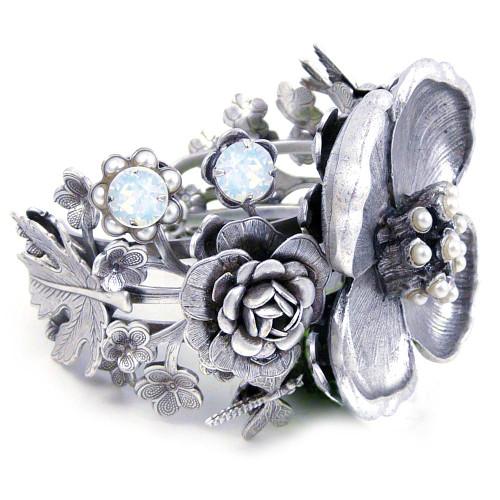 Botanical Grandeur Pewter + Crystal Bracelet