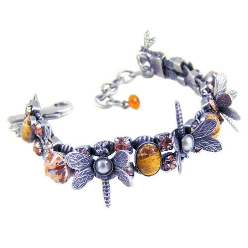 Desert Jasper & Austrian Crystal Dragonflies Bracelet
