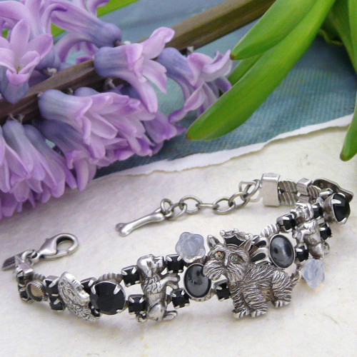 'Dogs Rule' Double Strand Pewter and Hematite Bracelet