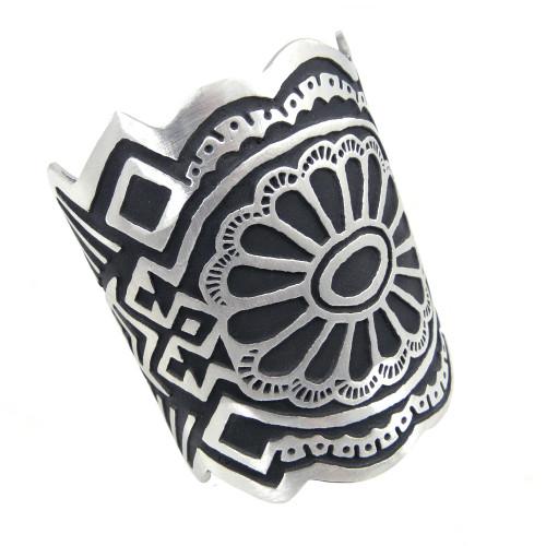 Bold Stylized Pattern Pewter Cuff Bracelet