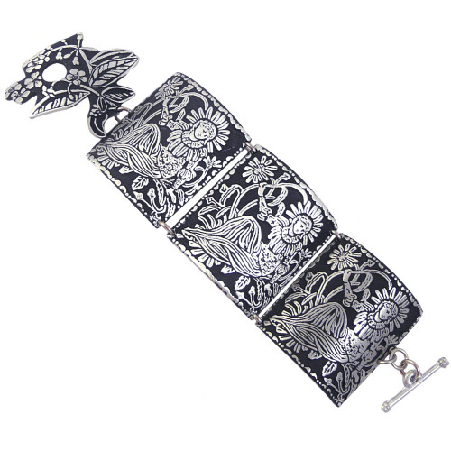 Madonna of the Flowers Pewter Triptych Link Bracelet
