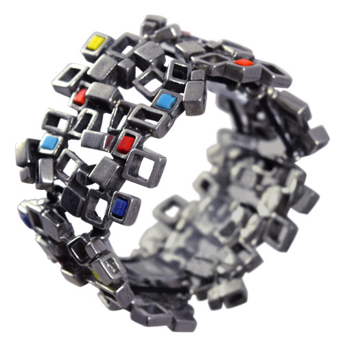 Modernist Pewter Cubist Bracelet - Multicolor Version