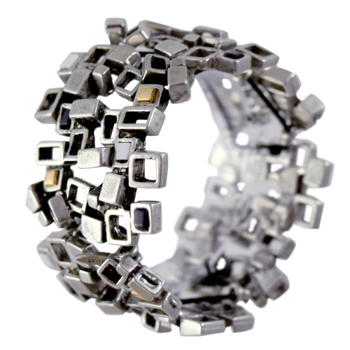 Modernist Pewter Cubist Bracelet - Neutral Colors Version
