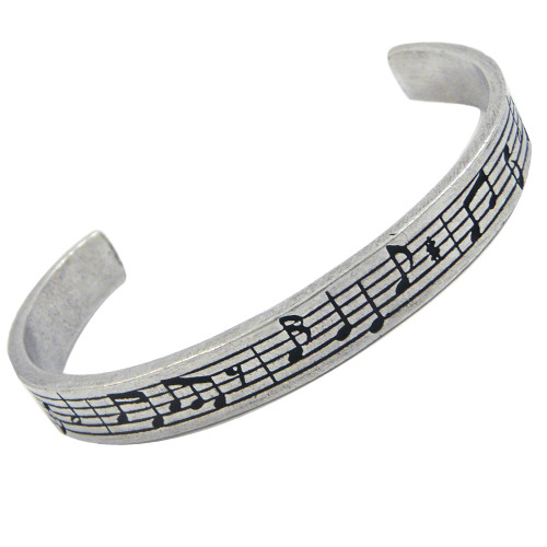 Music Notes Pewter Cuff Bracelet