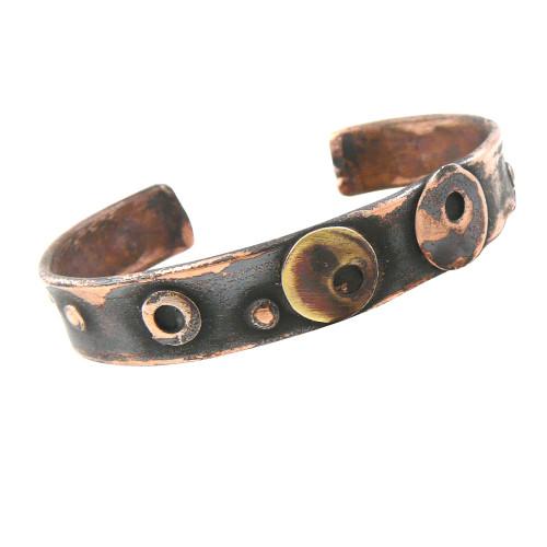 Morphic Circles Rustic Copper Cuff Bracelet