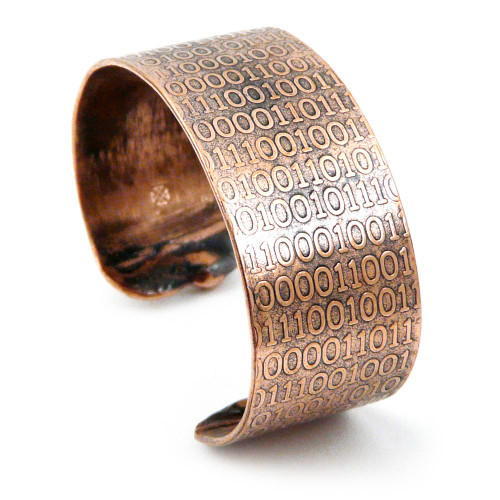 Golden Ratio Binary Code Rustic Copper Cuff Bracelet