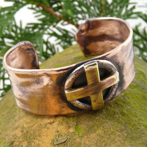 Celtic Sun Cross Rustic Copper Cuff Bracelet