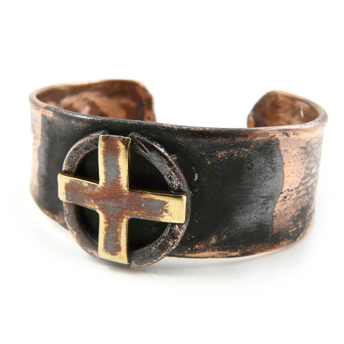 Celtic Sun Cross Rustic Copper Cuff Bracelet