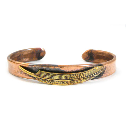 Narrow Feather Rustic Copper Cuff Bracelet