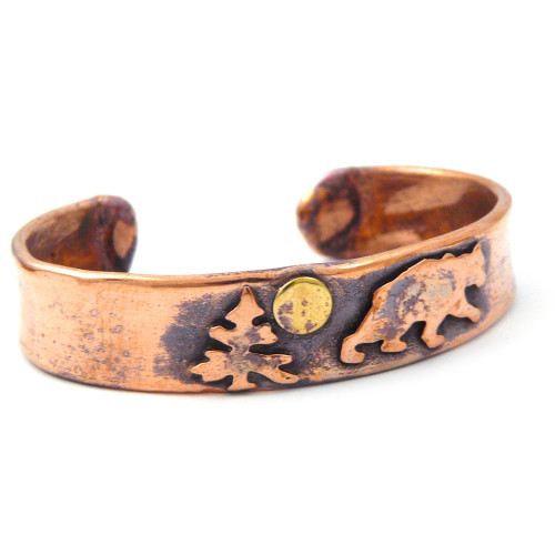 Bear Rustic Copper Cuff Bracelet