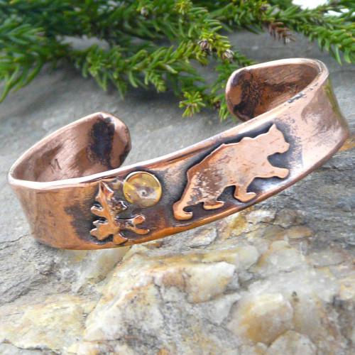 Bear Rustic Copper Cuff Bracelet