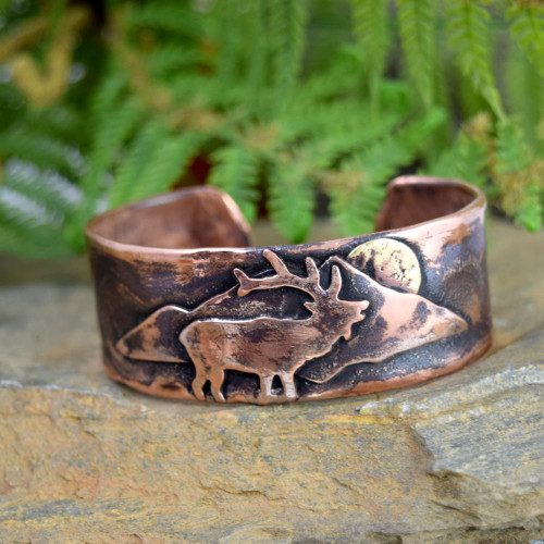 Elk Rustic Copper Cuff Bracelet