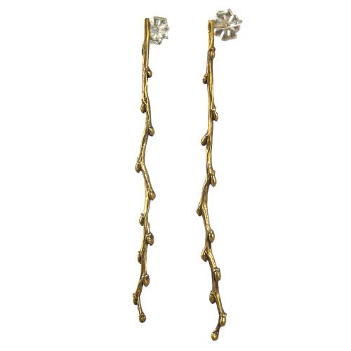 Bronze Budding Twig Stud Earrings