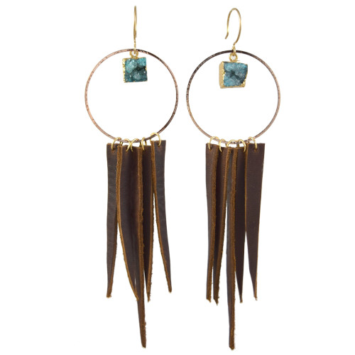Leather Fringe Brass Hoop Boho Earrings