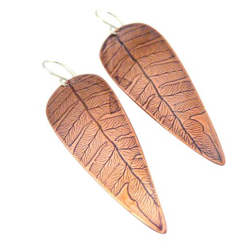 Fern Impression Copper Earrings