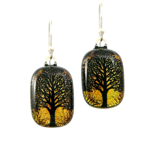 Dichroic Glass Earrings - Tree of Life