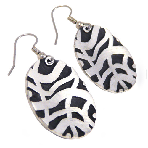Deco-Style Pewter Disc Earrings