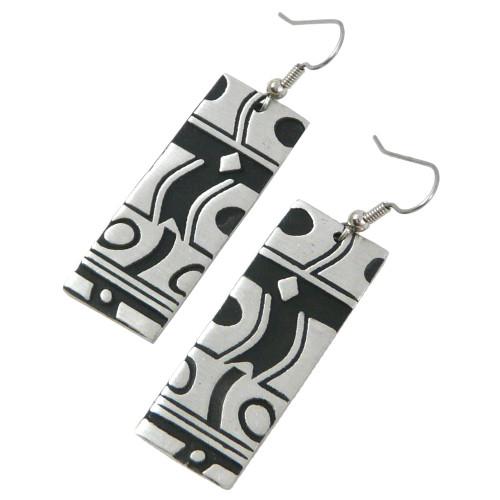 Deco-Style Pewter Rectangular Earrings