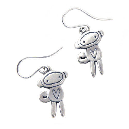 Love Monkey Sterling Silver Earrings