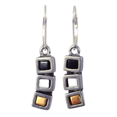 Modernist Pewter Cubist Earrings - Neutral Colors Version