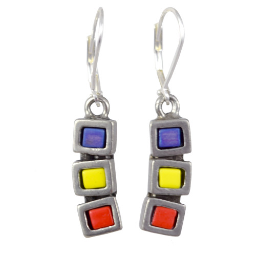 Modernist Pewter Cubist Earrings -Primary Colors Version