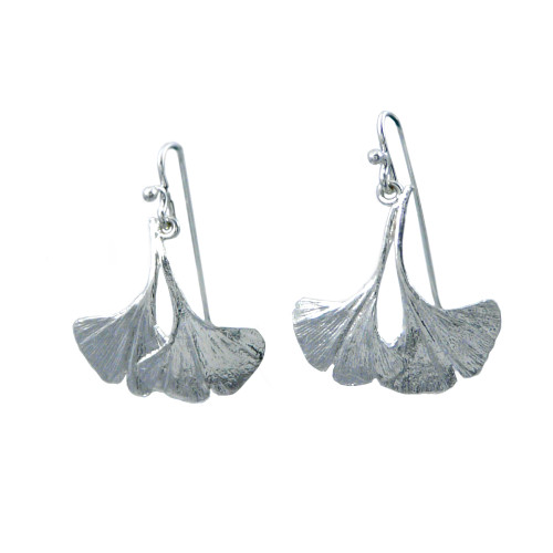 Sterling Silver Ginkgo Leaf Earrings