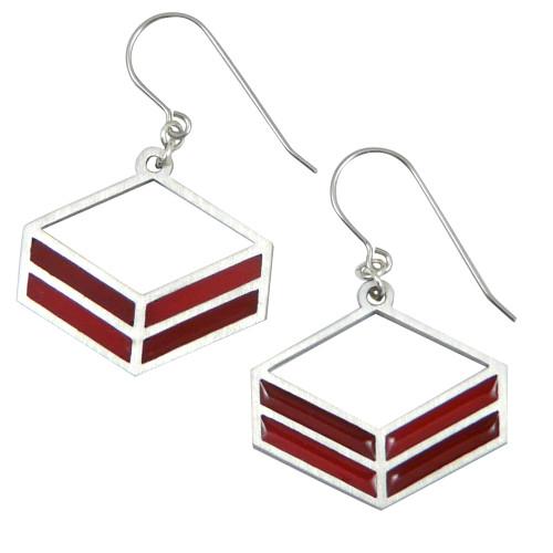 Modern Stainless Steel Red Rhombus Earrings