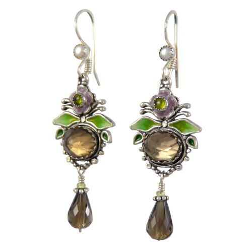 Upscale Bohemian Chandelier Earrings: Smoky Quartz and Enamel