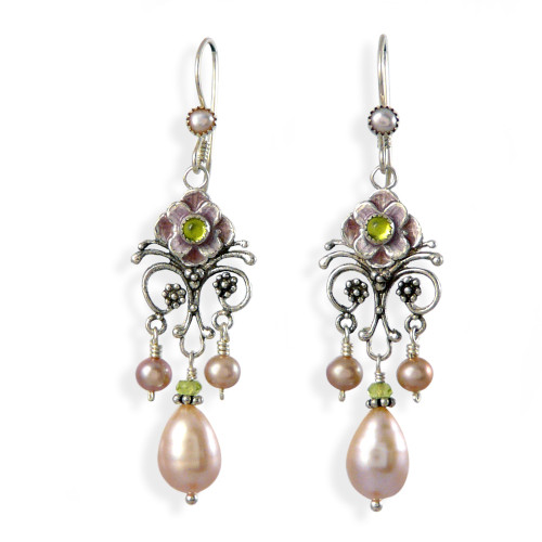 Upscale Bohemian Chandelier Earrings: Pink Pearl and Enamel