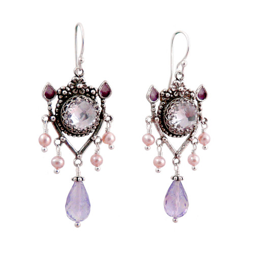 Upscale Bohemian Chandelier Earrings: Pink Amethyst and Pearl