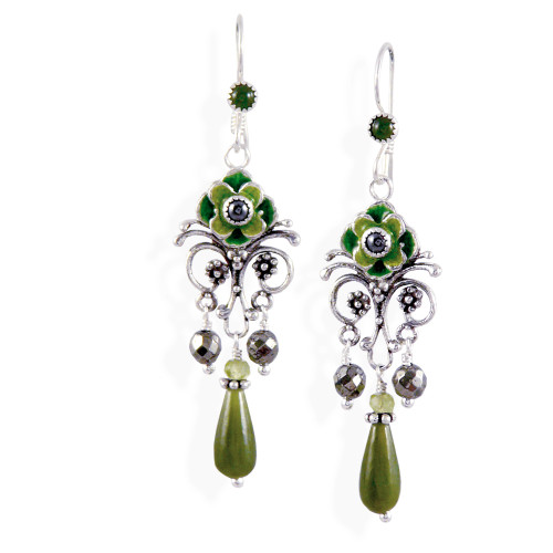 Upscale Bohemian Chandelier Earrings: Jade, Hematite and Enamel