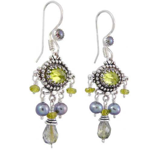 Upscale Bohemian Chandelier Earrings: Green Tourmaline, Pearl, and Peridot