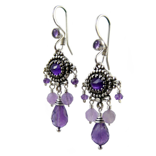 Upscale Bohemian Chandelier Earrings: Purple Amethyst and Sterling