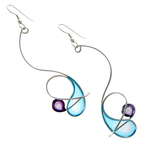Kinetic Sculpture Inspired Earrings: Blue Purple Orbit