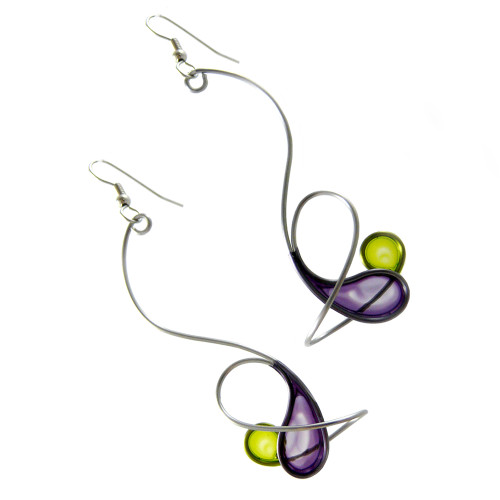 Kinetic Sculpture Inspired Earrings: Purple Green Orbit
