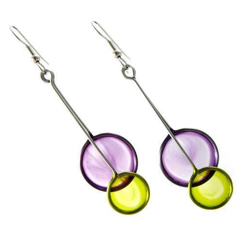 Kinetic Sculpture Inspired Earrings: Purple Green Eclipse