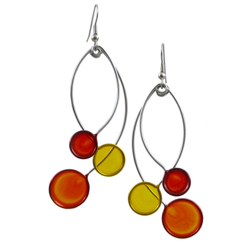 Kinetic Sculpture Inspired Earrings: Orange Yellow Trio