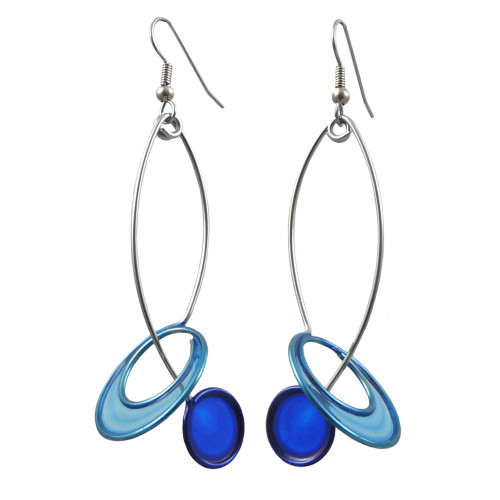 Kinetic Sculpture Inspired Earrings: Two Blue Halo Drop