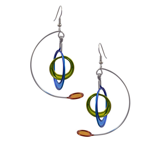 Kinetic Sculpture Inspired Earrings: Multicolor Modernist Mobile